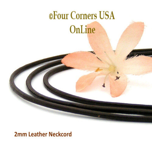 2mm Brown 20 Inch Leather Sterling Silver Necklace Cord FCN-1503-20 Four Corners USA OnLine Jewelry
