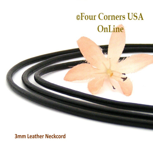 3mm Black 20 Inch Leather Sterling Silver Necklace Cord FCN-1504-20 Four Corners USA OnLine Jewelry