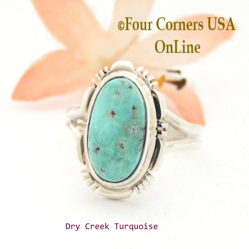 Size 9 Dry Creek Turquoise Sterling Ring Navajo Artisan Jane Francisco NAR-1734 Four Corners USA OnLine