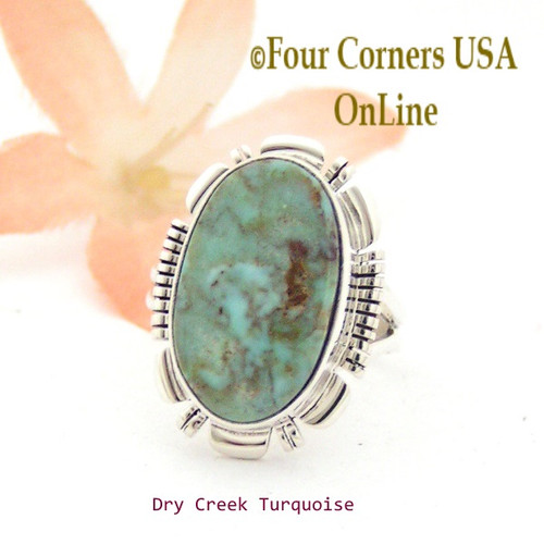 On Sale Now Size 6 1/2 Dry Creek Turquoise Sterling Ring Navajo Artisan Larry Moses Yazzie NAR-1736 Four Corners USA OnLine