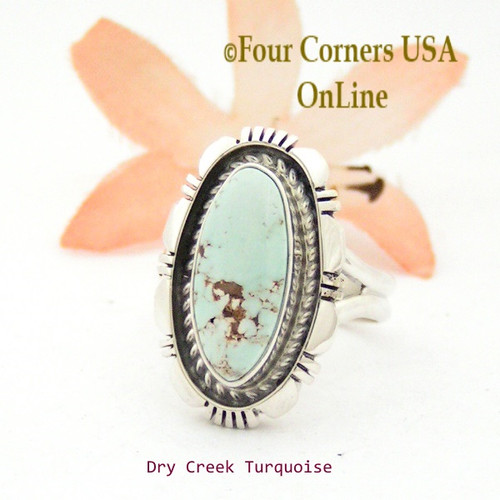 Size 6 3/4 Dry Creek Turquoise Sterling Ring Navajo Artisan Robert Concho NAR-1745 Four Corners USA OnLine