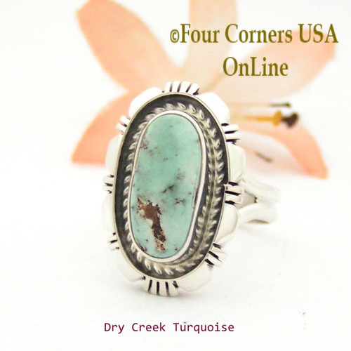 Size 7 3/4 Dry Creek Turquoise Sterling Ring Navajo Artisan Robert Concho NAR-1747 Four Corners USA OnLine
