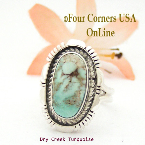 Size 7 3/4 Dry Creek Turquoise Sterling Ring Navajo Artisan Robert Concho NAR-1748 Four Corners USA OnLine