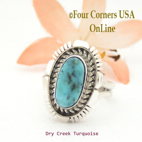 Size 6 3/4 Dry Creek Turquoise Sterling Ring Navajo Artisan Robert Concho NAR-1749 Four Corners USA OnLine