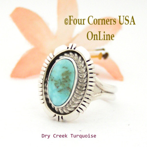 Size 7 Dry Creek Turquoise Sterling Ring Navajo Artisan Robert Concho NAR-1750 Four Corners USA OnLine