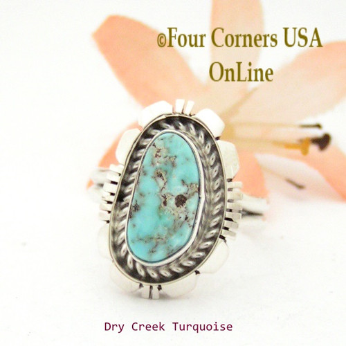 Size 7 3/4 Dry Creek Turquoise Sterling Ring Navajo Artisan Robert Concho NAR-1751 Four Corners USA OnLine