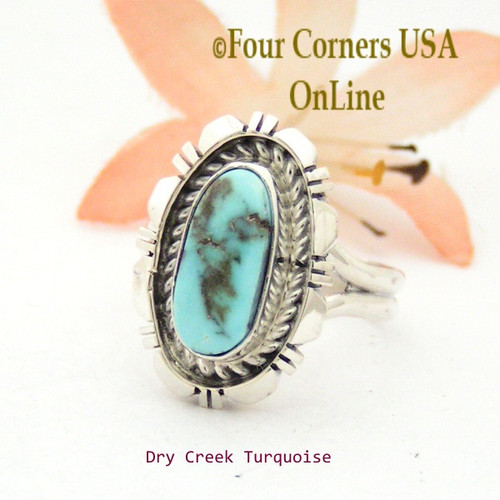 Size 7 3/4 Dry Creek Turquoise Sterling Ring Navajo Artisan Robert Concho NAR-1752 Four Corners USA OnLine