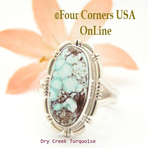 Size 8 1/4 Dry Creek Turquoise Sterling Ring Navajo Artisan Larry Moses Yazzie NAR-1754 Four Corners USA OnLine Native American Jewelry
