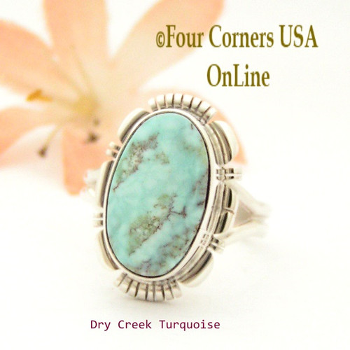 Size 8 1/4 Dry Creek Turquoise Sterling Ring Navajo Artisan Larry Moses Yazzie NAR-1755 Four Corners USA OnLine Native American Jewelry