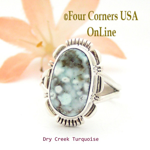 On Sale Now Size 7 3/4 Dry Creek Turquoise Sterling Ring Navajo Artisan Larry Moses Yazzie NAR-1757 Four Corners USA OnLine Native American Jewelry