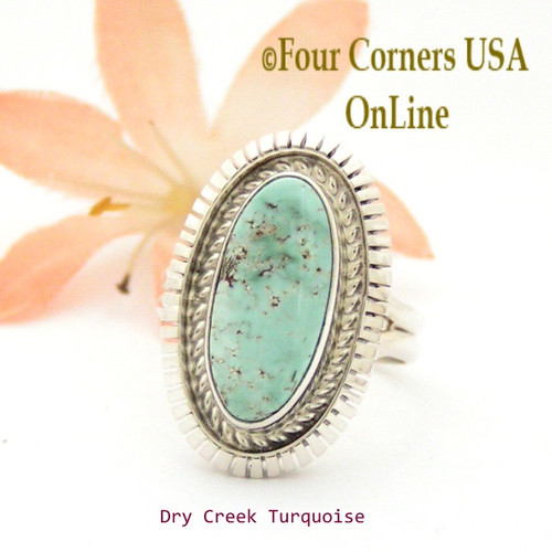 Size 7 3/4 Dry Creek Turquoise Sterling Ring Navajo Artisan Robert Concho NAR-1758 Four Corners USA OnLine Native American Jewelry