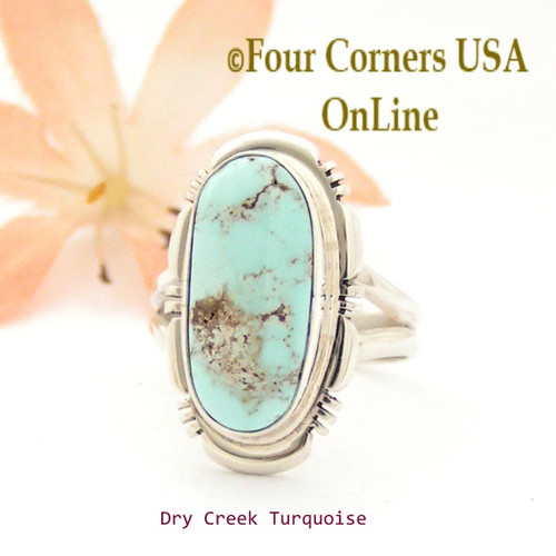 Size 7 Dry Creek Turquoise Sterling Ring Navajo Artisan Jane Francisco NAR-1760 Four Corners USA OnLine Native American Jewelry