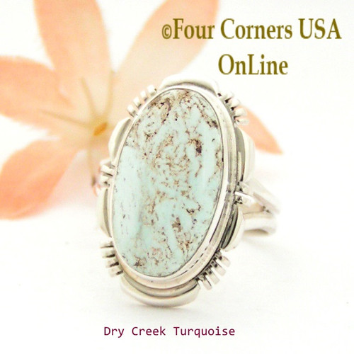 Size 8 Dry Creek Turquoise Sterling Ring Navajo Artisan Jane Francisco NAR-1761 Four Corners USA OnLine Native American Jewelry