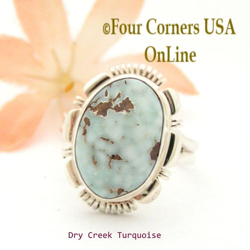 Size 8 3/4 Dry Creek Turquoise Sterling Ring Navajo Artisan Jane Francisco NAR-1762 Four Corners USA OnLine Native American Jewelry