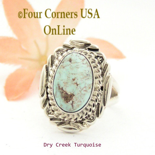 Size 7 3/4 Dry Creek Turquoise Sterling Ring Navajo Artisan Virgil Chee NAR-1775 Four Corners USA OnLine Native American Jewelry