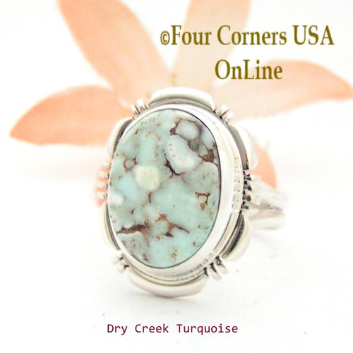 Size 7 Dry Creek Turquoise Sterling Ring Navajo Artisan Jane Francisco NAR-1779 Four Corners USA OnLine Native American Jewelry
