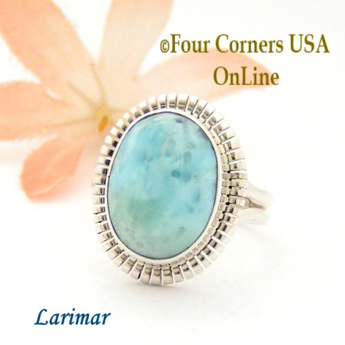 Size 7 3/4 Larimar Sterling Silver Ring Navajo Artisan Robert Concho NAR-1788 Four Corners USA OnLine Native American Jewelry