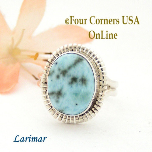Size 7 3/4 Larimar Sterling Silver Ring Navajo Artisan Robert Concho NAR-1789 Four Corners USA OnLine Native American Jewelry