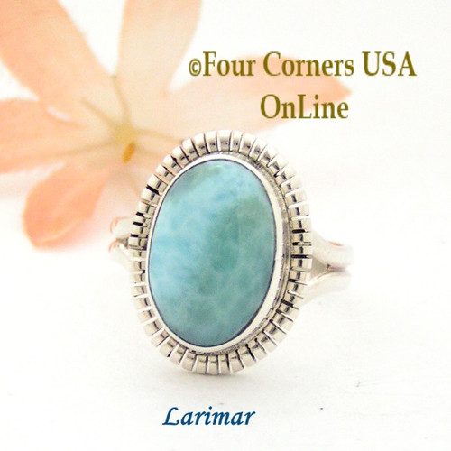 Size 9 Larimar Sterling Silver Ring Navajo Artisan Robert Concho NAR-1790 Four Corners USA OnLine Native American Jewelry