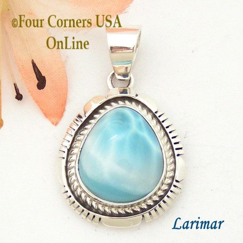Larimar Sterling Silver Pendant Navajo Artisan Robert Concho NAP-1606 Four Corners USA OnLine Native American Jewelry