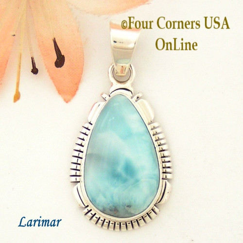 Larimar Sterling Silver Pendant Navajo Artisan Robert Concho NAP-1607 Four Corners USA OnLine Native American Jewelry