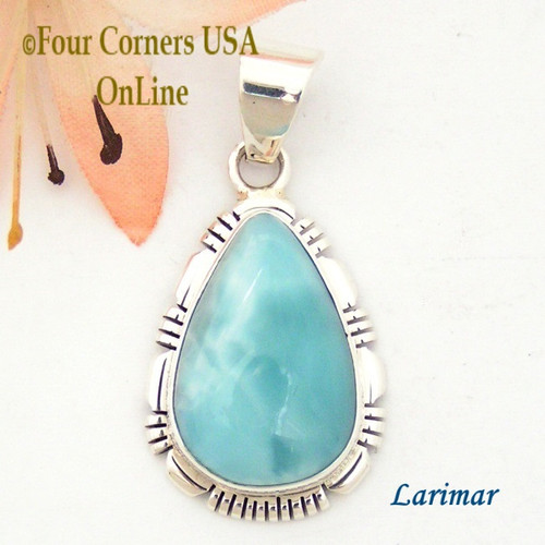 Larimar Sterling Silver Pendant Navajo Artisan Robert Concho NAP-1608 Four Corners USA OnLine Native American Jewelry