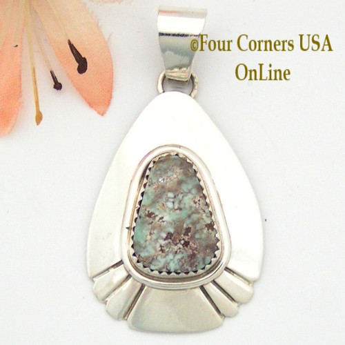 Teardrop Dry Creek Turquoise Sterling Pendant Navajo Artisan Alice Johnson NAP-1585 Four Corners USA Online Native American Jewelry