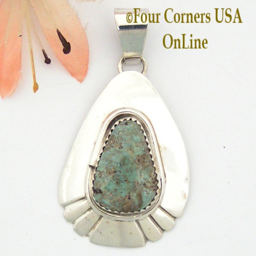 Teardrop Dry Creek Turquoise Sterling Pendant Navajo Artisan Alice Johnson NAP-1586 Four Corners USA OnLine Native American Jewelry