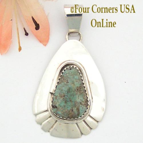 On Sale Now Teardrop Dry Creek Turquoise Sterling Pendant Navajo Artisan Alice Johnson NAP-1586 Four Corners USA OnLine Native American Jewelry