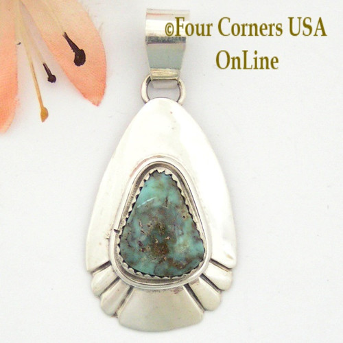Teardrop Dry Creek Turquoise Sterling Pendant Navajo Artisan Alice Johnson NAP-1587 Four Corners USA OnLine Native American Jewelry