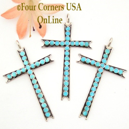 Turquoise Sterling Cross Native American Indian Zuni Jewelry NACR-1420 Four Corners USA OnLine