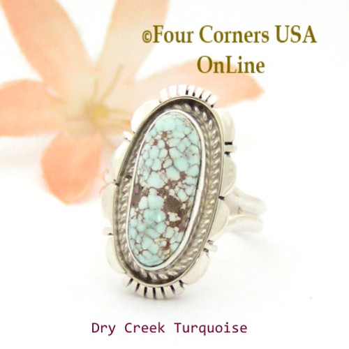 On Sale Now Size 7 Dry Creek Turquoise Sterling Ring Navajo Artisan Robert Concho NAR-1796 Four Corners USA OnLine Native American Jewelry