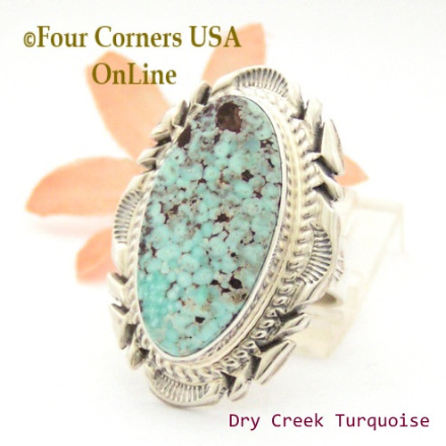 Size 8 1/2 Dry Creek Turquoise Large Stone Ring Navajo Artisan Thomas Francisco NAR-1798 Four Corners USA OnLine Native American Indian Jewelry