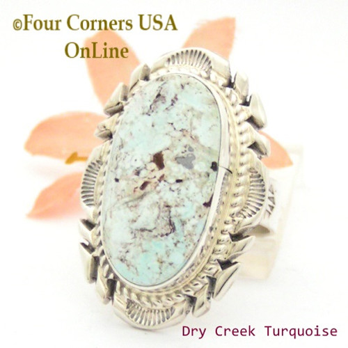 Size 8 3/4 Dry Creek Turquoise Large Stone Ring Navajo Artisan Thomas Francisco NAR-1799 Four Corners USA OnLine Native American Indian Jewelry