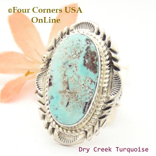 On Sale Now Size 8 3/4 Dry Creek Turquoise Large Stone Ring Navajo Artisan Thomas Francisco NAR-1800 Four Corners USA OnLine Native American Indian Jewelry