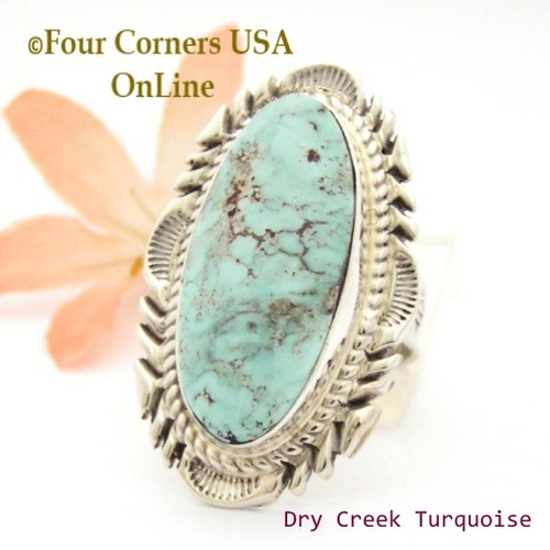 On Sale Now Size 9 Dry Creek Turquoise Large Stone Ring Navajo Artisan Thomas Francisco NAR-1801 Four Corners USA OnLine Native American Indian Jewelry