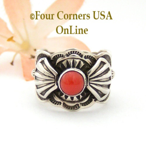 On Sale Now! Size 7 Coral Ornate Sterling Ring Navajo Artisan Donovan Cadman NAR-1804 Four Corners USA OnLine Native American Jewelry