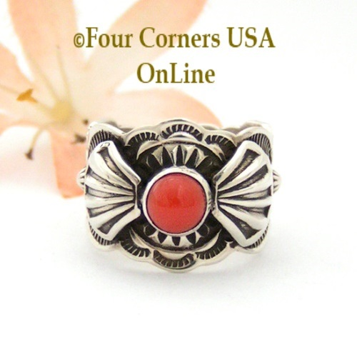 Size 7 Coral Ornate Sterling Ring Navajo Artisan Donovan Cadman NAR-1804 Four Corners USA OnLine Native American Jewelry