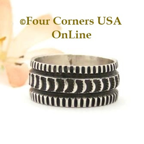 Size 9 Stamped Silver Band Ring Navajo Artisan Donovan Cadman NAR-1805 Four Corners USA OnLine Native American Jewelry