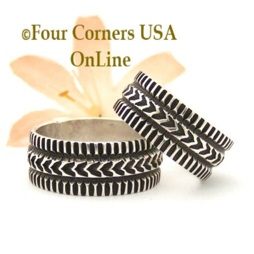 On Sale Now! Size 8 Silver Band Ring Navajo Artisan Donovan Cadman NAR-1806 Four Corners USA OnLine Native American Jewelry