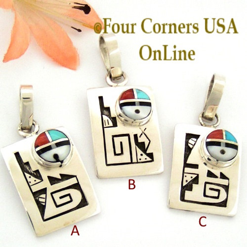 Inlay SunFace Etched Pendant Native American Hopi Zuni Artisan Frank Lahaleon NAP-1612 Four Corners USA OnLine Jewelry