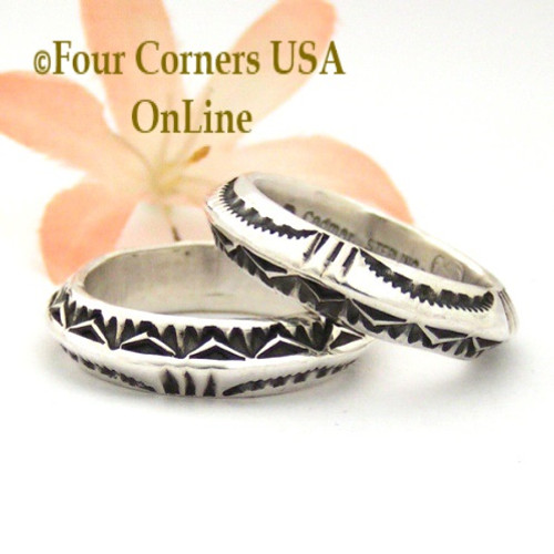 Sizes 9, 9 3/4, and 10 Dual Sided Stamped Silver Dome Band Ring Navajo Artisan Darrell Cadman NAR-1807 Four Corners USA OnLine Native American Indian Jewelry