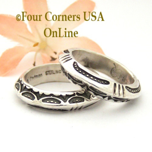 On Sale Now! Sizes 9 3/4, 10 3/4 Two Sided Stamped Silver Triangular Band Ring Navajo Artisan Darrell Cadman NAR-1808 Four Corners USA OnLine Native American Indian Jewelry