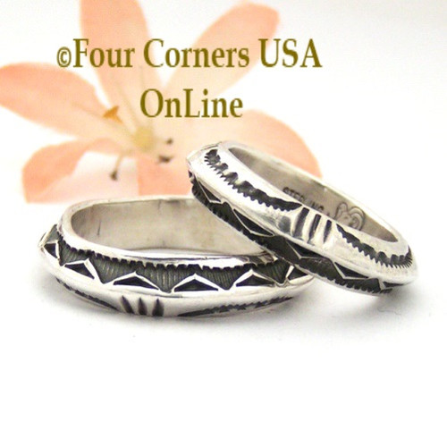 Sizes 9, 9 3/4, 10 3/4, 12 Dual Stamped Silver Band Ring Navajo Artisan Darrell Cadman NAR-1809 Four Corners USA OnLine Native American Indian Jewelry