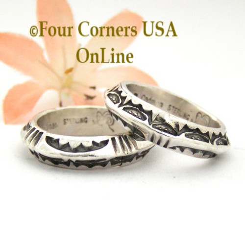 Sizes 8 3/4, 9 Two Sided Stamped Silver Band Ring Navajo Artisan Darrell Cadman NAR-1810 Four Corners USA OnLine Native American Jewelry