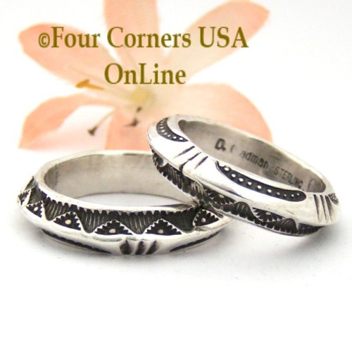 Sizes 9 3/4, 10 3/4 Dual Sided Stamped Silver Band Ring Navajo Artisan Darrell Cadman NAR-1811 Four Corners USA OnLine Native American Jewelry