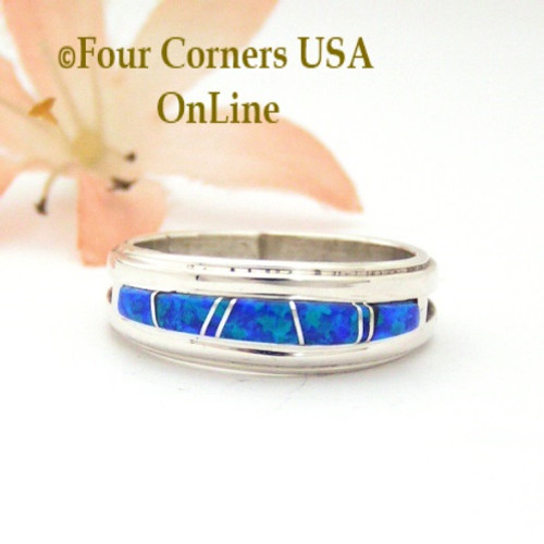 Size 8 Blue Fire Opal Inlay Band Ring Navajo Wilbert Muskett Jr WB-1675 Four Corners USA OnLine Native American Jewelry