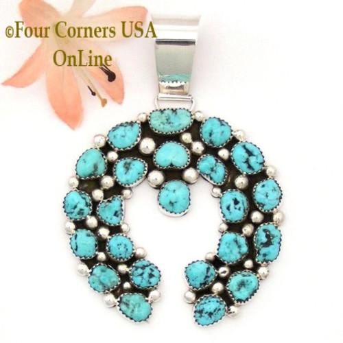 Multi Stone Sleeping Beauty Turquoise Sterling Naja Pendant Navajo Artisan Kenneth Jones On Sale Now NAP-1614 Four Corners USA OnLine Native American Jewelry