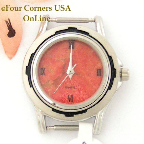 Women's Natural Apple Coral Stainless Watch Face 12mm pin NAWF-AC-22W Four Corners USA OnLine Southwest Native American Watch Accessories