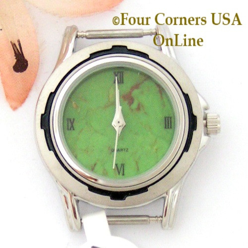 Women's Mohave Green Kingman Turquoise Stone Stainless Watch Face 12mm pin NAWF-MG-15W Four Corners USA OnLine Southwest Native American Watch Accessories